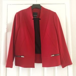 Trouve Long Sleeve Red Blazer with Zipper Accents